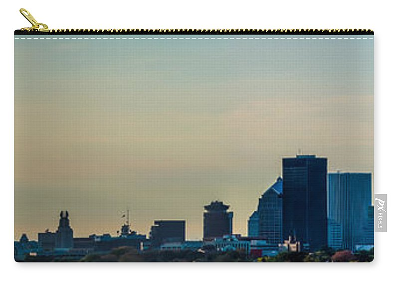 New York Carry-all Pouch featuring the photograph Rochester Ny Panorama At Dusk by Ray Sheley