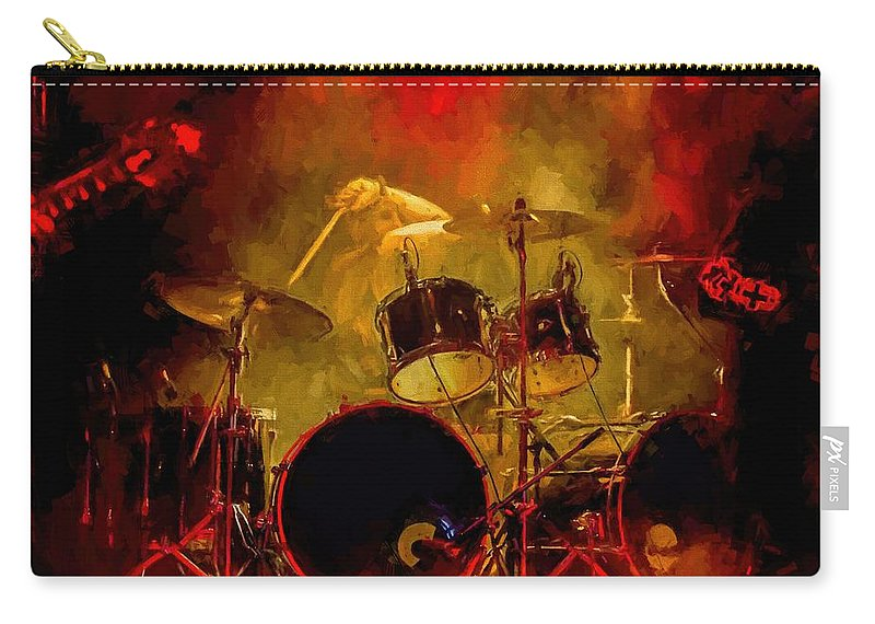 Rock And Roll Drum Solo # Rock And Roll # Drum Set # Rock And Roll Drum Paintings # Abstract Music Art # Zildjian # Drum Solo Painting # Concert # Smoke # Fog # Carry-all Pouch featuring the digital art Rock And Roll Drum Solo by Louis Ferreira