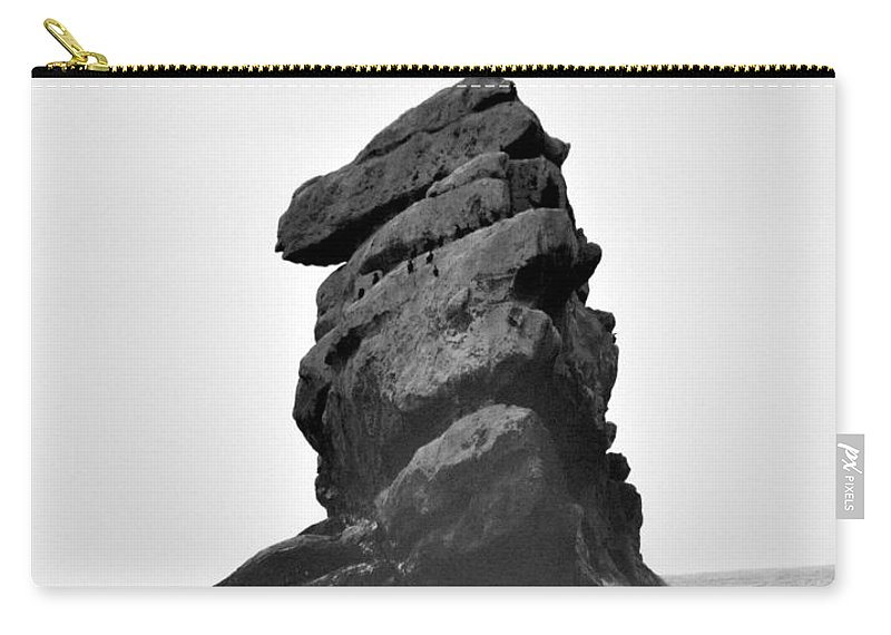 Portrait Carry-all Pouch featuring the photograph Rock At Morro Bay by Shannon Nickerson