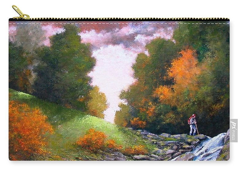 Artist Carry-all Pouch featuring the painting Rock Creek by Jim Gola