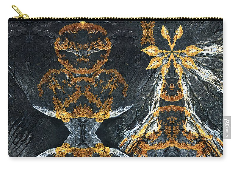 Rocks Carry-all Pouch featuring the digital art Rock Gods Lichen Lady And Lords by Nancy Griswold