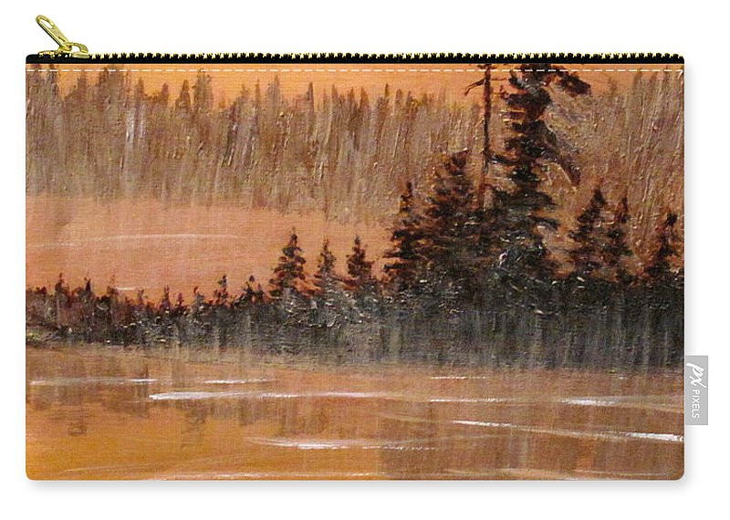 Northern Ontario Carry-all Pouch featuring the painting Rock Lake Morning 3 by Ian MacDonald