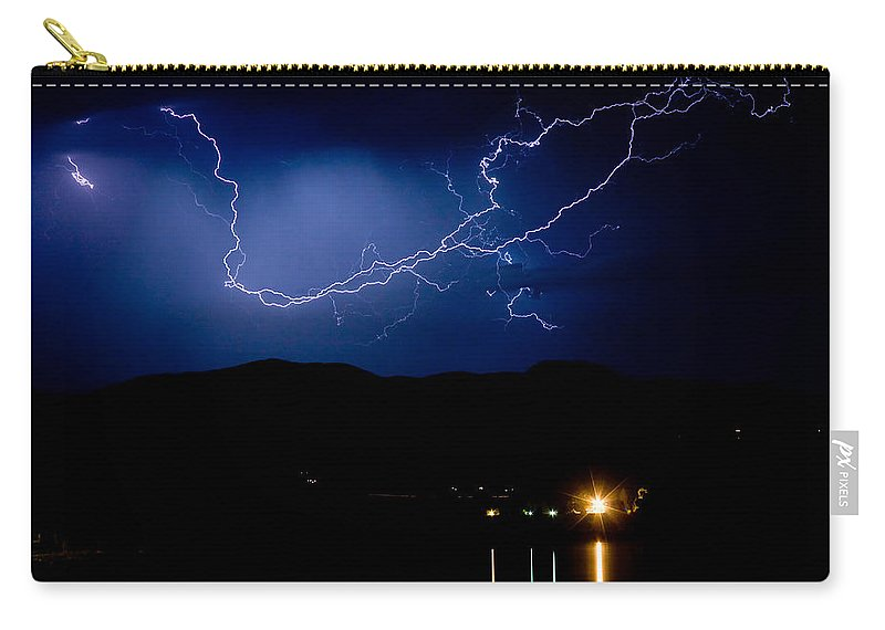 Lightning Carry-all Pouch featuring the photograph Rock Mountains Foot Hills Lightning Storm by James BO Insogna