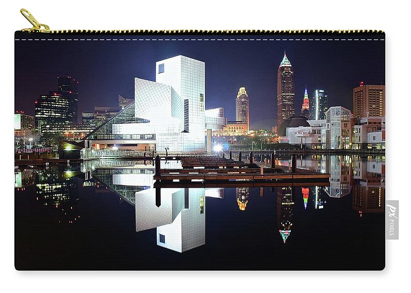 Cleveland Carry-all Pouch featuring the photograph Rock N Roll Hall Of Fame by Frozen in Time Fine Art Photography