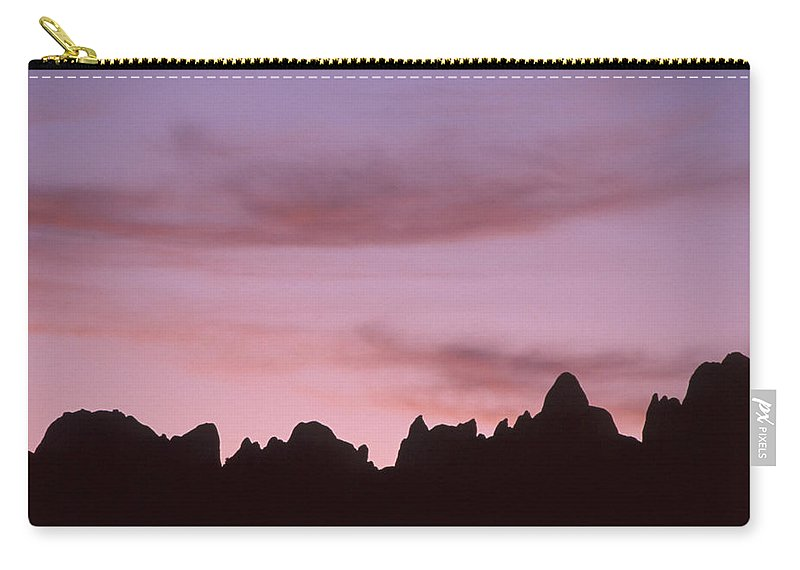Lone Pine Ca. Carry-all Pouch featuring the photograph Rock Outline - Alabama Hills by Soli Deo Gloria Wilderness And Wildlife Photography
