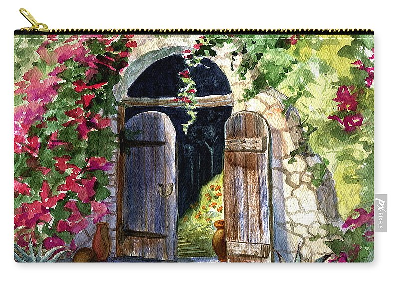 Garden Gate Carry-all Pouch featuring the painting Rock Springs Gate by Marilyn Smith