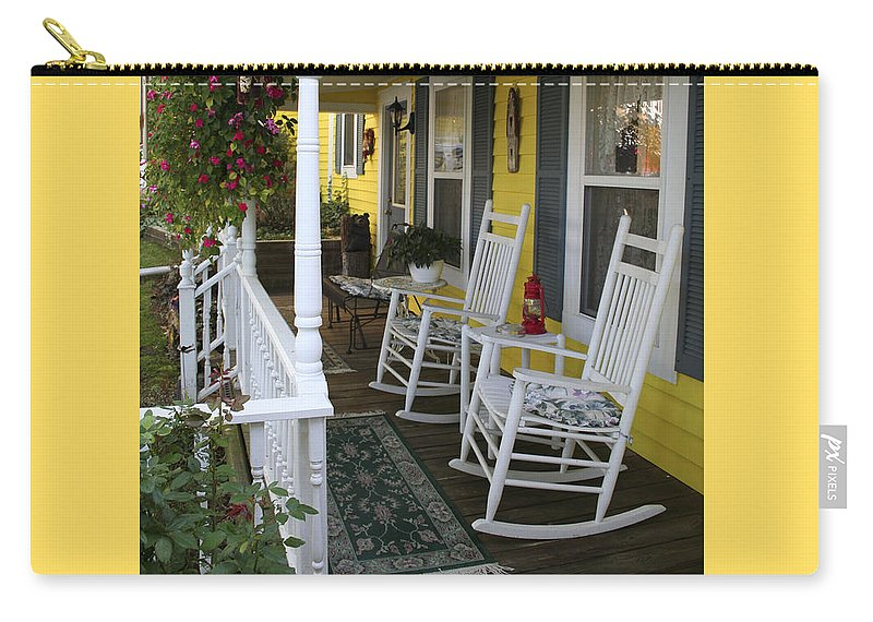 Rocking Chair Carry-all Pouch featuring the photograph Rockers On The Porch by Margie Wildblood