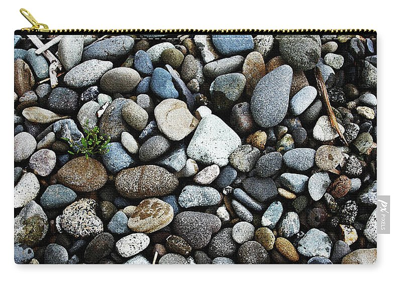 Rocks And Sticks On The Beach Carry-all Pouch featuring the photograph Rocks And Sticks On The Beach by Tom Janca