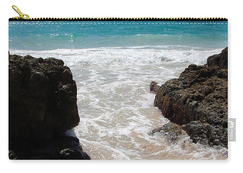 Caribbean Carry-all Pouch featuring the photograph Rocky Beach In The Caribbean by Margaret Bobb