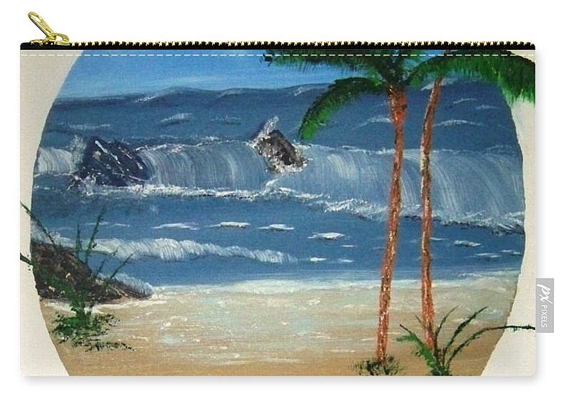Rocks Beach Palm Trees Sand Waves Ocean Water Carry-all Pouch featuring the painting Rocky Beach by Lawrence Booth