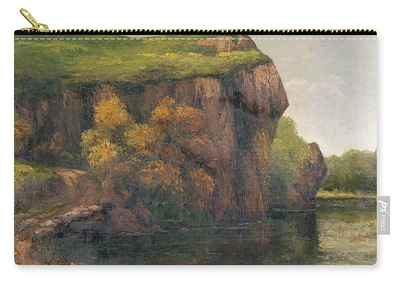 Cliff-face Carry-all Pouch featuring the painting Rocky Cliffs by Gustave Courbet