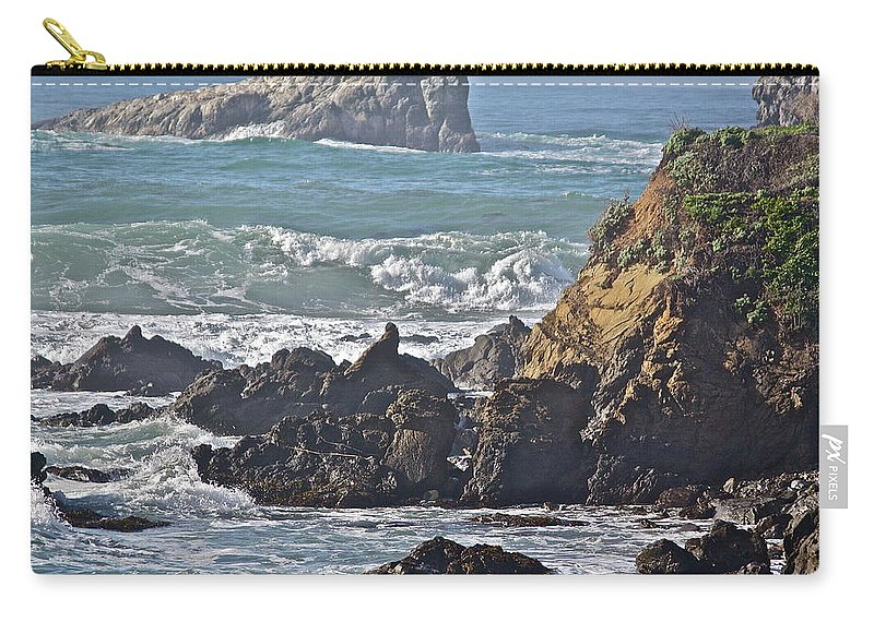 Sea Carry-all Pouch featuring the photograph Rocky Coast by Diana Hatcher