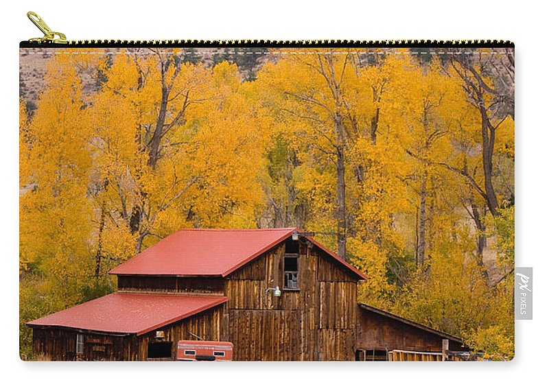 Rustic Carry-all Pouch featuring the photograph Rocky Mountain Barn Autumn View by James BO Insogna
