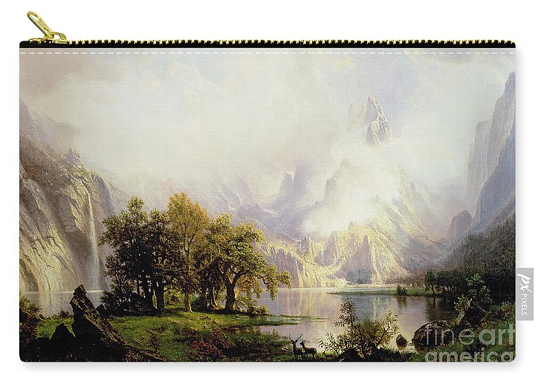 Landscape Carry-all Pouch featuring the painting Rocky Mountain Landscape by Albert Bierstadt