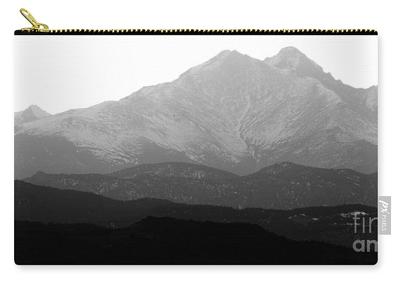 Twin Peaks Carry-all Pouch featuring the photograph Rocky Mountain Twin Peaks Bw by James BO Insogna