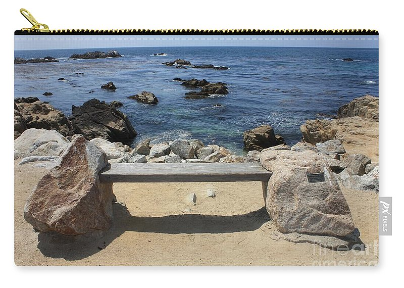 Seaside Bench Carry-all Pouch featuring the photograph Rocky Seaside Bench by Carol Groenen