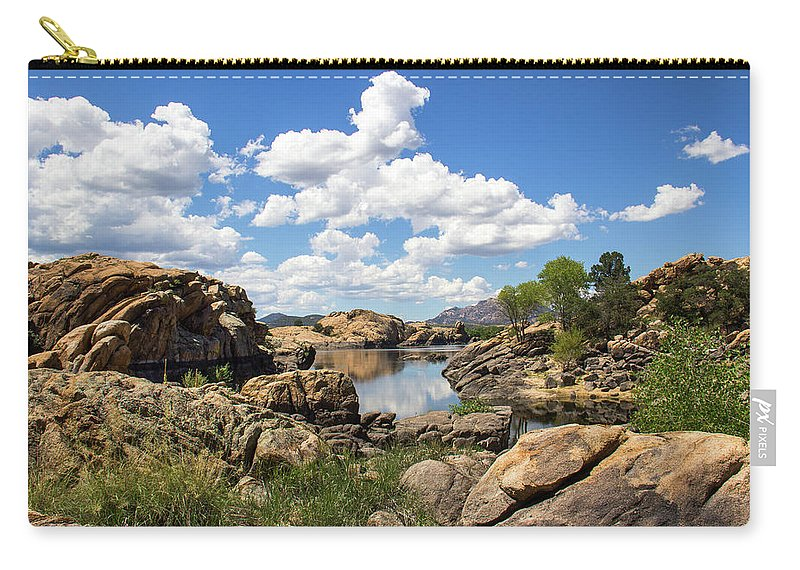Landscape Carry-all Pouch featuring the photograph Rocky Shore And Pristine Water by Amy Sorvillo