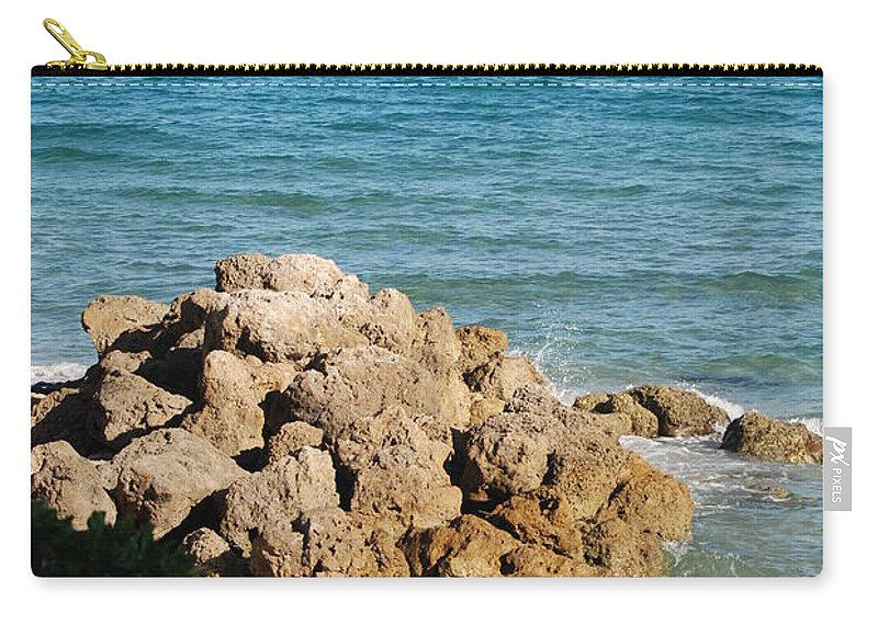 Sea Scape Carry-all Pouch featuring the photograph Rocky Shoreline by Rob Hans
