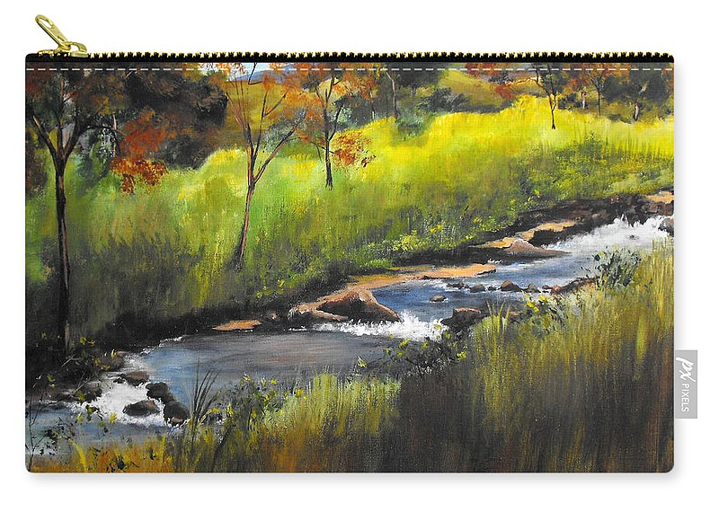 Landscape Carry-all Pouch featuring the painting Rocky Stream by Ruth Palmer