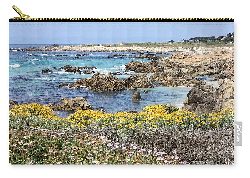 Ocean Carry-all Pouch featuring the photograph Rocky Surf With Wildflowers by Carol Groenen