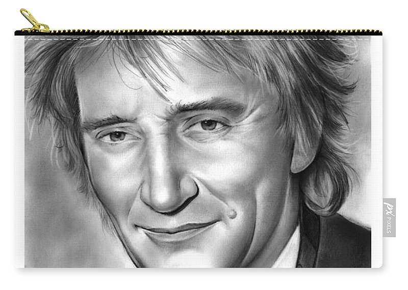 Rod Stewart Carry-all Pouch featuring the drawing Rod Stewart by Greg Joens