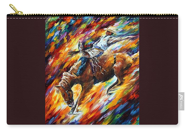 Afremov Carry-all Pouch featuring the painting Rodeo - Dangerous Games by Leonid Afremov