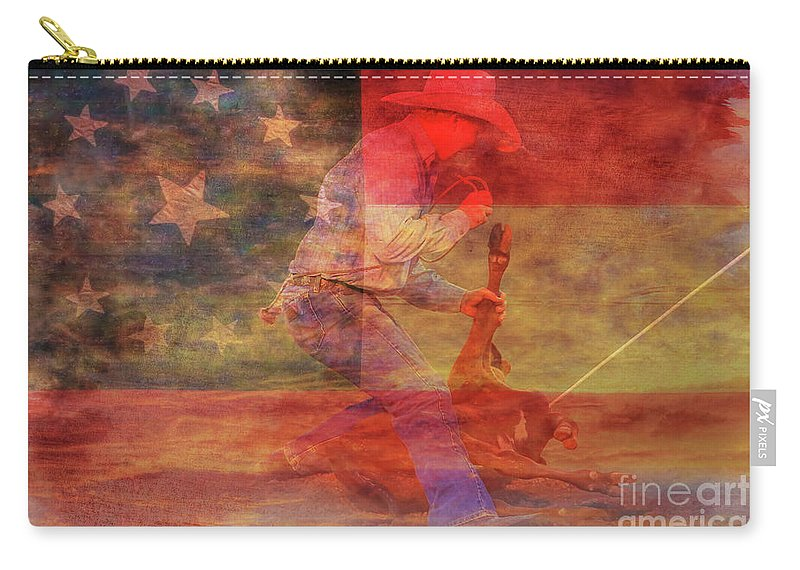 Rodeo Calf Roper Over Flag Carry-all Pouch featuring the digital art Rodeo Calf Roper Over Flag by Randy Steele