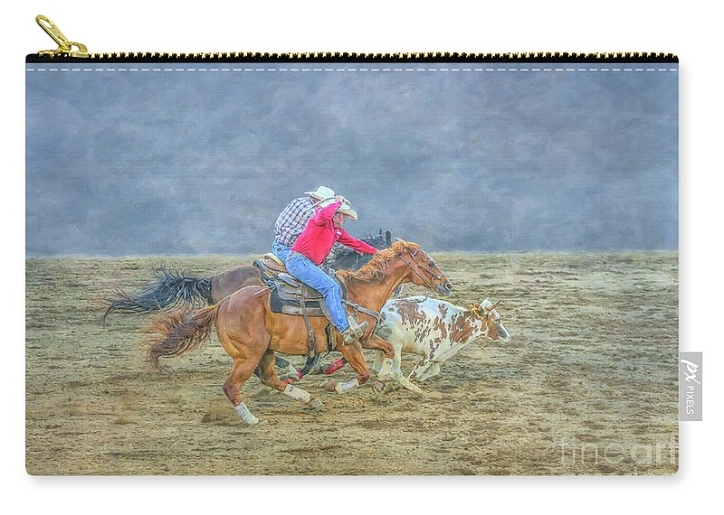 Rodeo Calf Roping Carry-all Pouch featuring the digital art Rodeo Calf Roping Three by Randy Steele