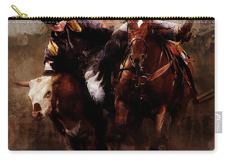 Cowboy Carry-all Pouch featuring the painting Rodeo by Gull G