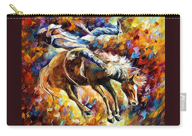 Afremov Carry-all Pouch featuring the painting Rodeo by Leonid Afremov