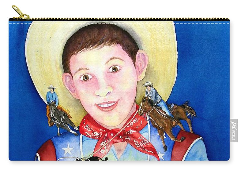 Boy Carry-all Pouch featuring the painting Rodeo Magic by Gale Cochran-Smith