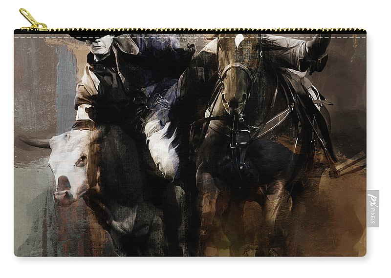 Cowboy Carry-all Pouch featuring the painting Rodeo Painting by Gull G