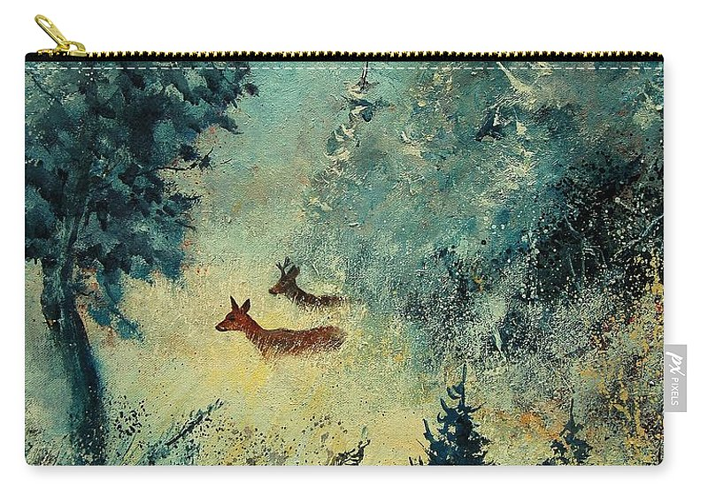 Animal Carry-all Pouch featuring the painting Roe Deers In September Morning Light by Pol Ledent