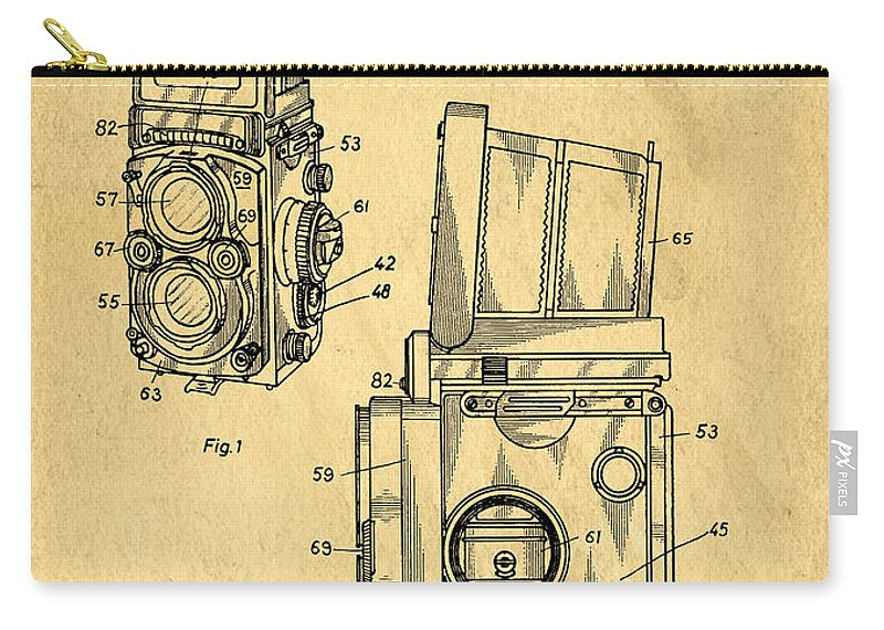Medium Carry-all Pouch featuring the digital art Rolleiflex Medium Format Twin Lens Reflex Tlr Patent by Edward Fielding
