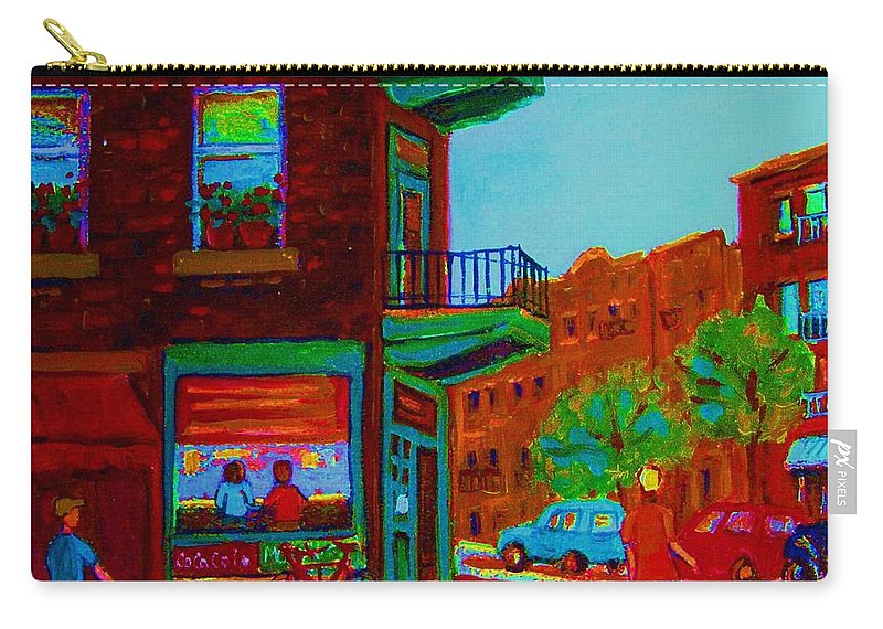 Wilenskys Carry-all Pouch featuring the painting Rollerblading Past The Cafe by Carole Spandau
