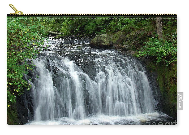 Waterfall Carry-all Pouch featuring the photograph Rolley Lake Falls Dry Brushed by Sharon Talson