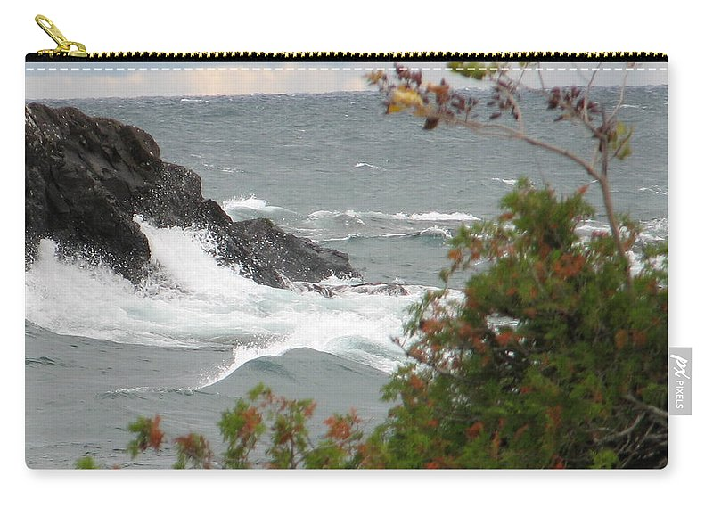 Waves Carry-all Pouch featuring the photograph Rolling Storm by Kelly Mezzapelle