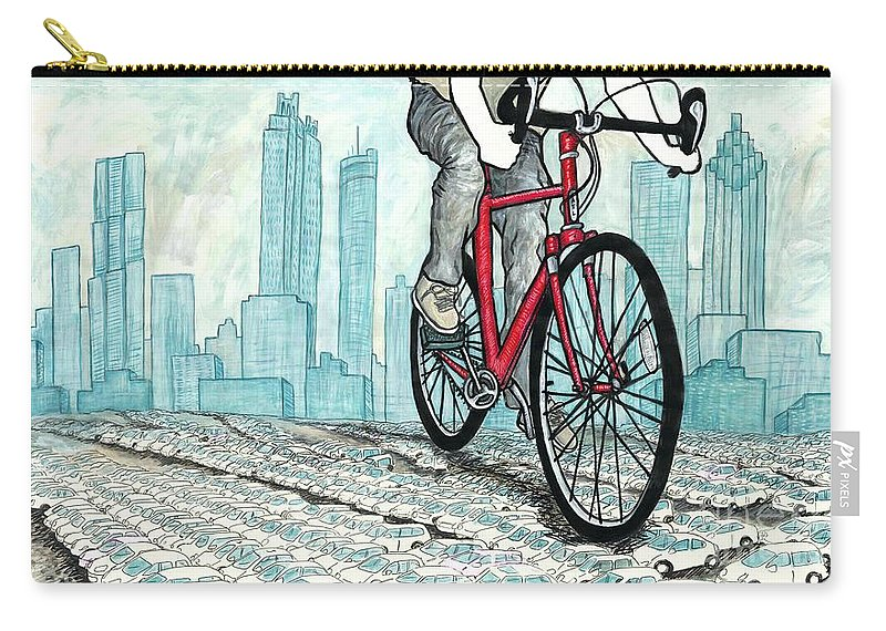 Bicycle Carry-all Pouch featuring the mixed media Rolling Through by Natalie Huggins