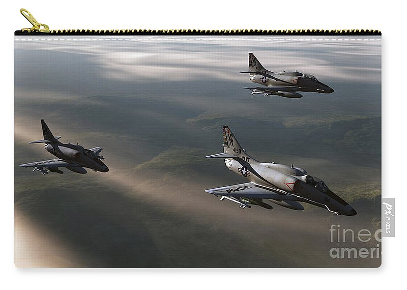 Aviation Art Carry-all Pouch featuring the digital art Rolling Thunder by Richard Rizzo