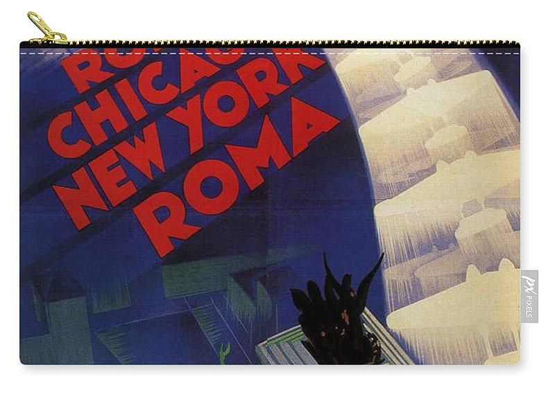 Roma Carry-all Pouch featuring the painting Roma, Chicago, New York - Vintage Illustrated Poster by Studio Grafiikka
