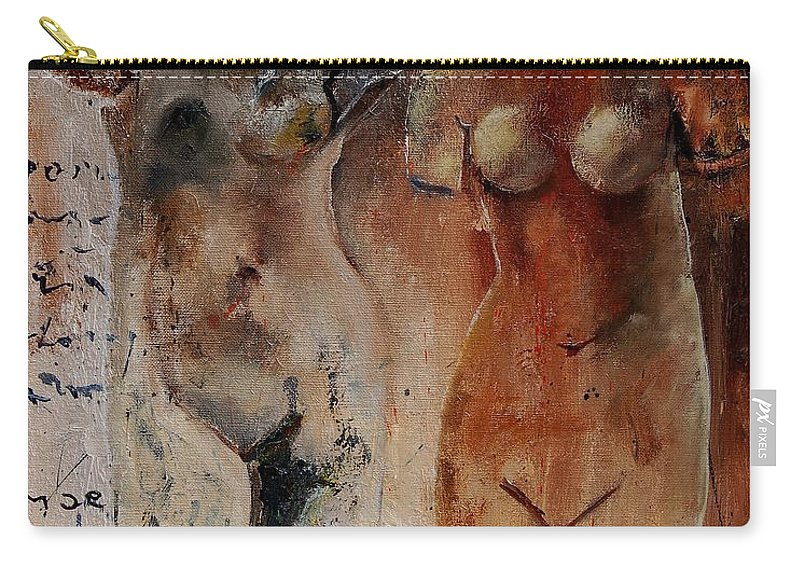 Nude Carry-all Pouch featuring the painting Roman Nudes 45 by Pol Ledent