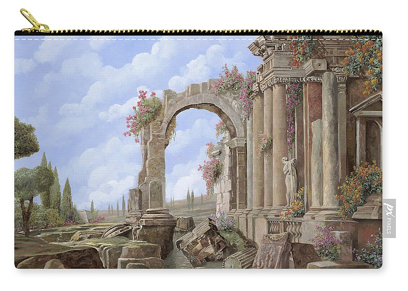 Arch Carry-all Pouch featuring the painting Roman Ruins by Guido Borelli