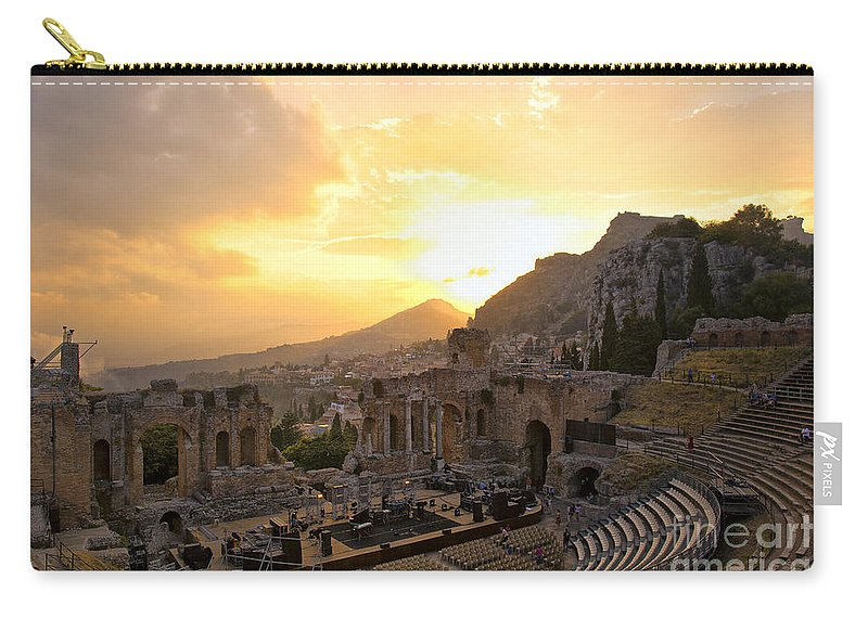 Roman Theater Carry-all Pouch featuring the photograph Roman Theater In Taormina IIi by Madeline Ellis