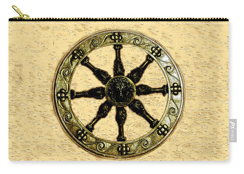 Wheel Carry-all Pouch featuring the painting Roman Wheel by David Lee Thompson