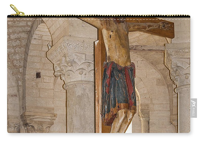 Large Wood Crucifix Carry-all Pouch featuring the photograph Romanesque Abbey Crucifix by Sally Weigand