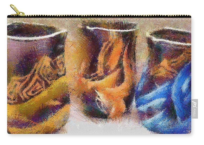 Romania Carry-all Pouch featuring the painting Romanian Vases by Jeffrey Kolker