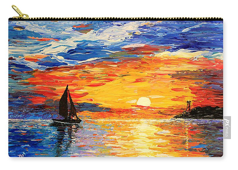 Seascape Carry-all Pouch featuring the painting Romantic Sea Sunset by Georgeta Blanaru