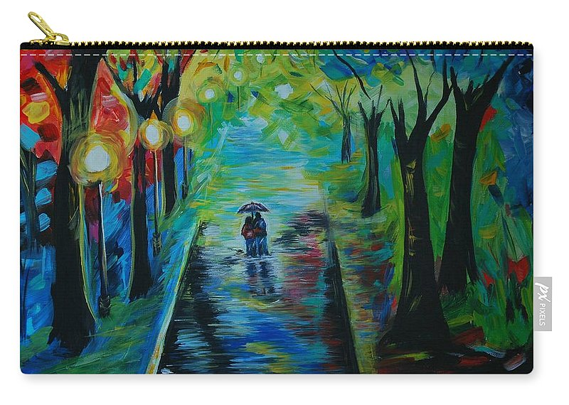 Couple Carry-all Pouch featuring the painting Romantic Stroll by Leslie Allen