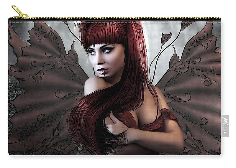 Vampire Carry-all Pouch featuring the mixed media Romantic Vampire's Moon by G Berry