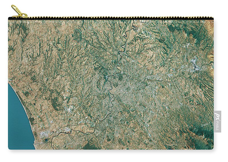 Topographic Map Of Rome.Rome Topographic Map Natural Color Top View Carry All Pouch For Sale